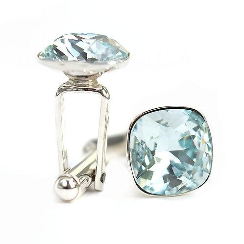 OLIVIER Light Azore Square Cushion Cut Wedding Swarovski Crystal Cufflinks