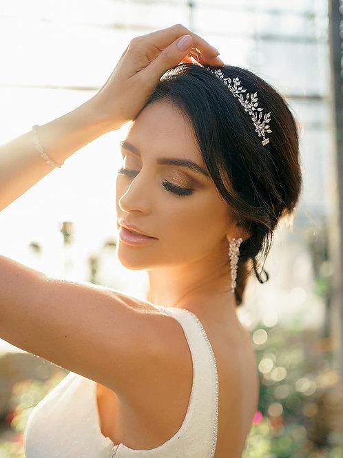 VALERIE Modern Crystal Silver Bridal Headband - Necklace with Black Ribbon