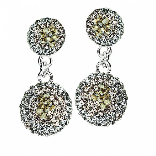 ROUND Gold Crystal Swarovski Pierced Earrings