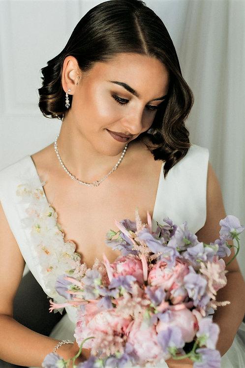 ELLY White Pearl Crystal Swarovski Set - Featured in Weddingsonline