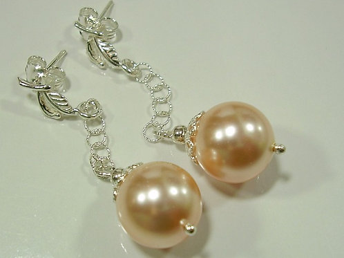 PEACH Swarovski Pearl Earrings