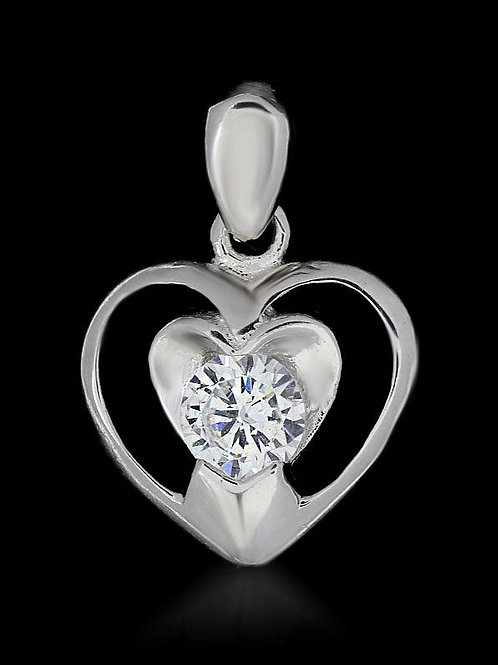 HEART with White Cubic Zirconia Silver Pendant