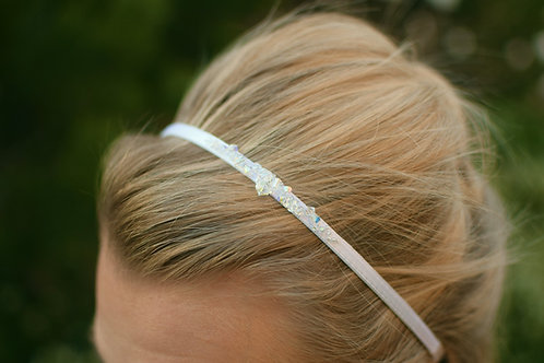 STELLA Romance White Satin & Aurora Borealis Crystal Wedding Headband
