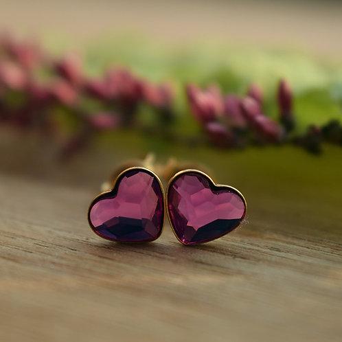 LOVELY Gold-plated 24ct Heart Swarovski Fuchsia Crystal Earrings
