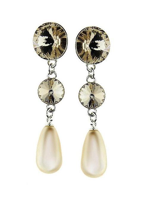 GOLDEN Tear Drop Pearl Long Swarovski Crystal Earrings