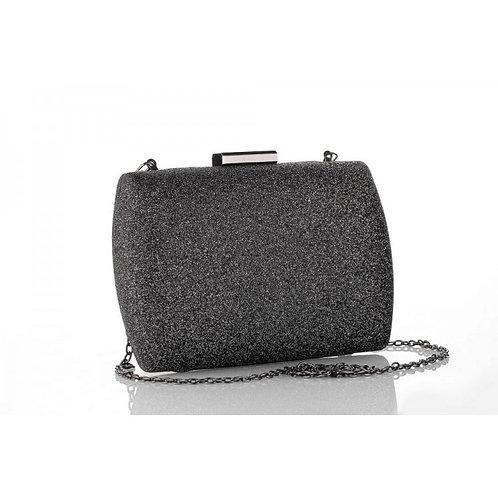 DANTE Graphite Glitter Mesh Compact Box Clutch Bag