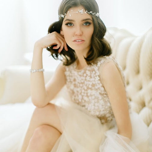 CARI Crystal Silver Bridal Headband - Hair Vine