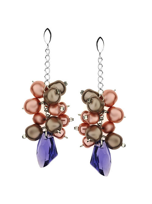 PURPLE Crystal and Powder Rose with Cappucino Pearl Swarovski Chain Earrings
