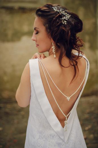 ROSALIA White Swarovski Pearl Crystal Subtle Back Cascade Necklace
