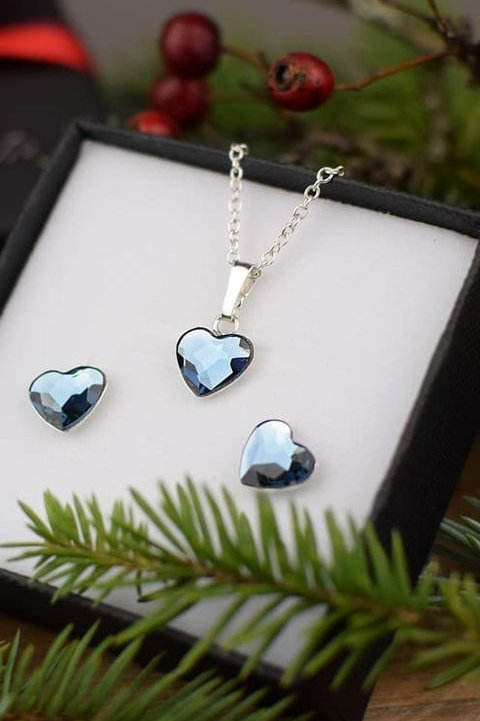 LOVE Hearts Swarovski Denim Blue Crystal F Set