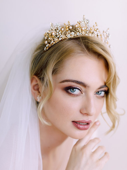 CHARLOTTE Antique Gold Bridal Crown - Tiara with Austrian Pearls & Crystals