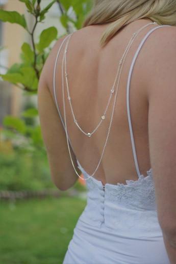 GRACEFUL Round Aurora Borealis Swarovski Crystal Back Necklace