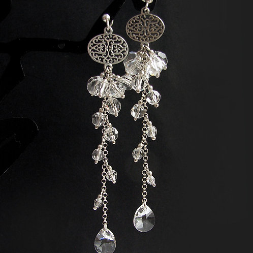 MIA Crystal Swarovski Long Earrings 8.5 cm