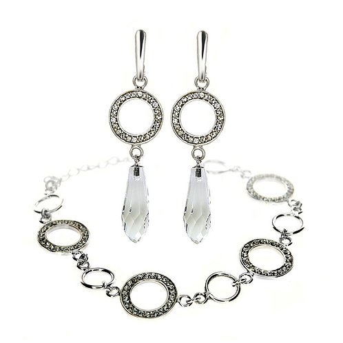 AMARA Modern White Swarovski Crystal Bracelet & Earring Set with Engraving