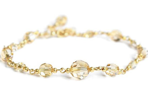 GRACE Gold-plated 24ct Golden-Shadow Swarovski Crystal Round Bracelet