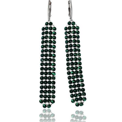 EMERALD Crystal Swarovski Long Silver Earrings