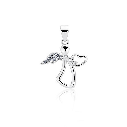 Rhodium-plated Angel Pendant with White Cubic Zirconia