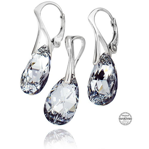 COMET Pear Drop Swarovski Crystal Earring and Pendant Set - Small