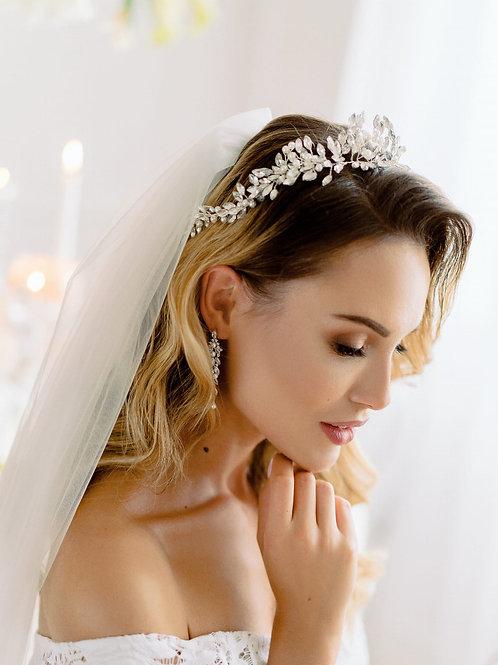 LILLA Crystal Silver Bridal Headband - Hair Vine or Tiara