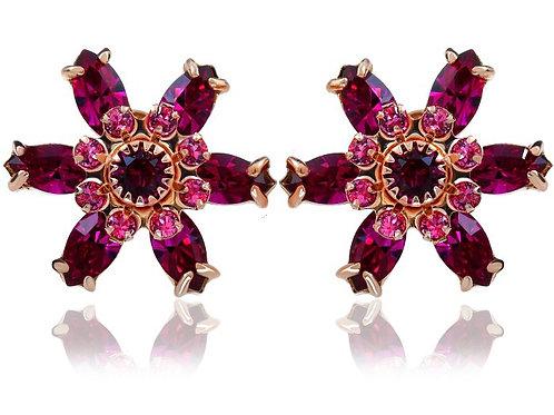 FUCHSIA Azure Flow Rose Gold Swarovski Earrings