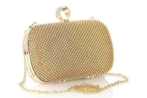 HOLLY Elegant Gold Diamante Box Bag