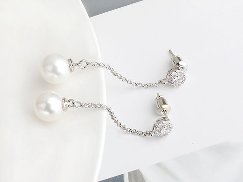 CLASSIC White Pearl Drop & Cubic Zirconia Earrings