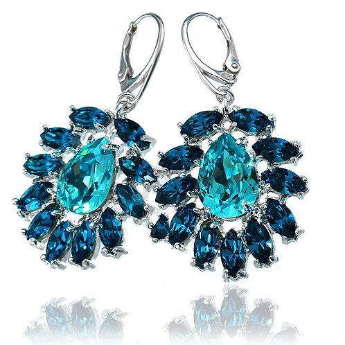 AZURE Turquoise Silver Crystal Swarovski Earrings
