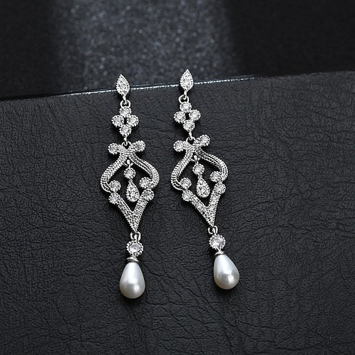Art Deco Style Pearl Drop and Crystal Silver Earrings