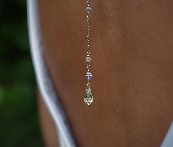 CLASSIC Graceful Swarovski Aurora Borealis Crystal Back Necklace