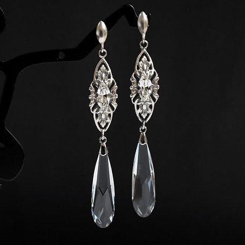 VIVIENNE Vintage Retro Long 7.2cm Glam Clear Crystal Swarovski Earrings