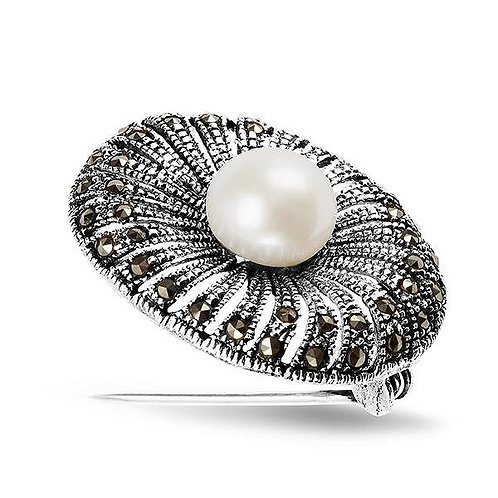 LUNA Natural White Pearl with Marcasite Stones Rhodium-plated Modern Brooch
