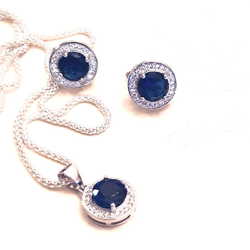 ANTOINETTE Navy Blue Rhodium-plated Silver Set with Cubic Zirconia