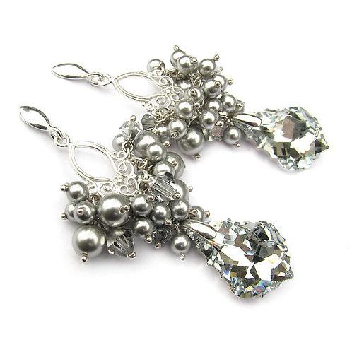 LOTTIE Vintage Style Light Grey Pearls & Comet Long 6.2cm Crystal Earrings