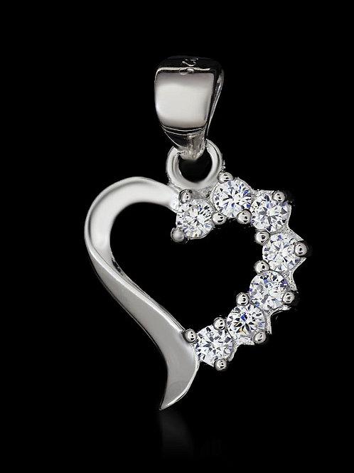 Rhodium-plated Heart Pendant with Zircons