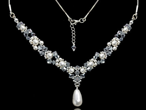 EVE Swarovski Pearl and Crystal Bridal Necklace