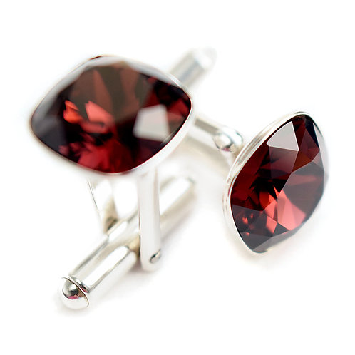 OLIVIER Burgundy Square Cushion Cut Wedding Swarovski Crystal Cufflinks