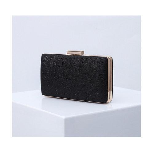 MADISON Classic Black Glitter Mesh Compact Box Clutch Bag