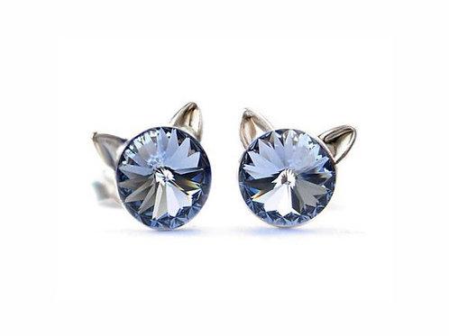 KITTY Light Sapphire Rivoli Swarovski 0.6 cm Earrings