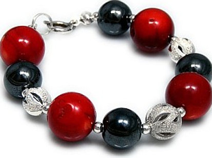CORAL and HEMATITE Elegant Bracelet with Silver Elements