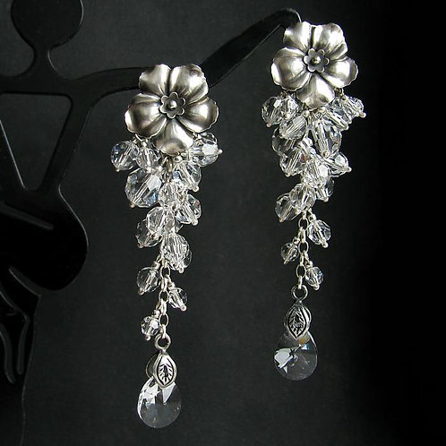ROSELLA FLOW Crystal Swarovski Oxidized Silver Long Earrings