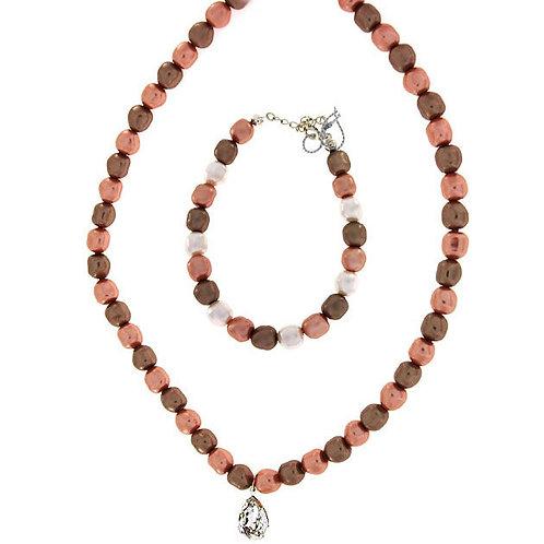 CARMEN Swarovski Pearl and Crystal Drop Necklace and Bracelet Set