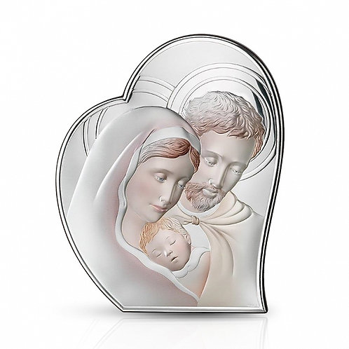 Christening Gift - Heart Shaped Holy Family Multicolor Silver-plated Image