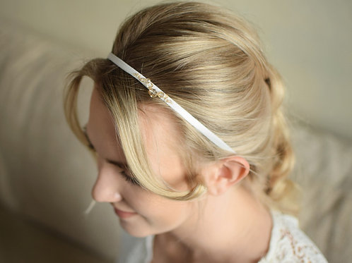 JASMINE Ecru Satin & Golden Shadow Crystal Wedding Headband