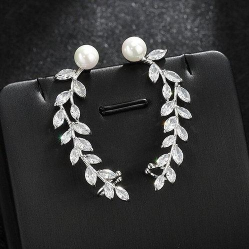 LEAF Drop Pearl Ear Cuff Crystal Earrings
