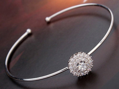 FLOW Silver Open Bangle Bracelet with Cubic Zirconia