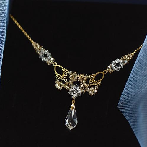 LACEY Gold Vintage Style Filigree Swarovski Golden Shadow Necklace
