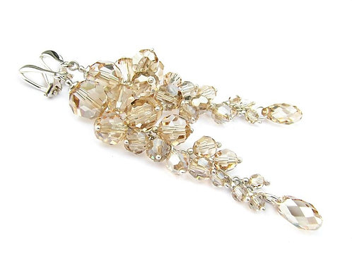JASMINE Clip-on Victorian Style Golden Shadow Swarovski Crystal Long Earrings