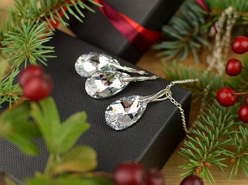 ICECOMET Swarovski Crystal Argent Light Pendant & Earring Set