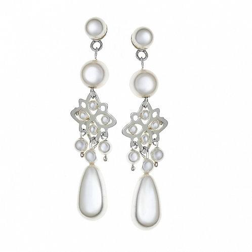 LETTY Teardrop White Pearl Crystal Swarovski Earrings