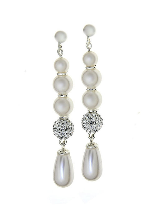 CLASSIC Tear Drop White Pearl Swarovski Crystal Long Earrings